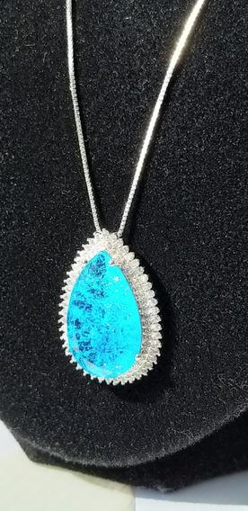 Colar Feminino Prata Folheado Ouro Cristal Grande Azul Z15