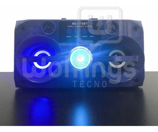 Parlante Portatil Bluetooth Ms-178 Bt Luces Radio Fm Usb Aux