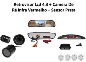 Retrovisor Lcd 4.3 Camera De Ré Infra Vermelho Sensor Ré Nf