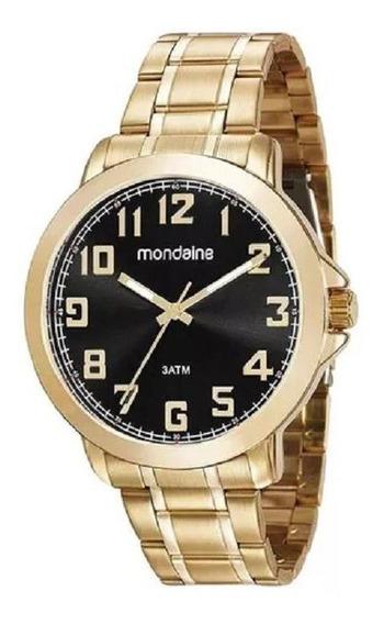 Relógio Mondaine Dourado Fundo Preto 99268gpmvde1k1 Com Garantia E Nota Fiscal