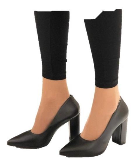 Zapato Clasico Bota Charito Balerina Mujer Negro En Punta Taco Separado Coolpink