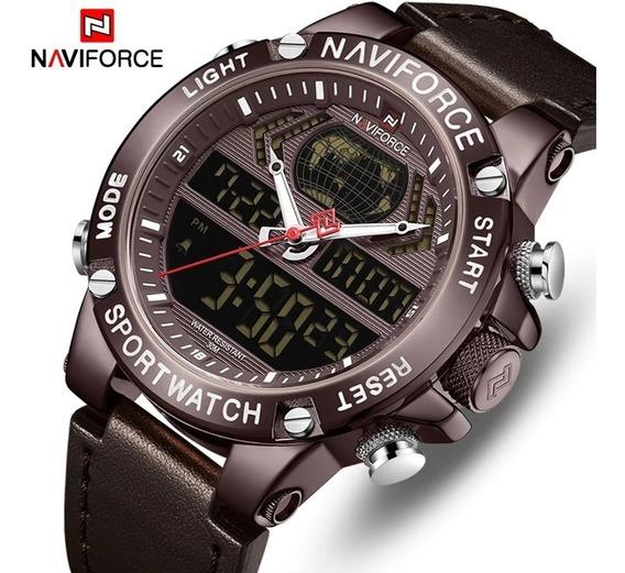 Relógio Naviforce 9164 Original Luxo Multifuncional De Couro