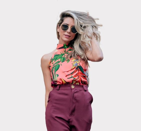 Blusa T Shirt Feminina Gola Chocker Estampa Floral