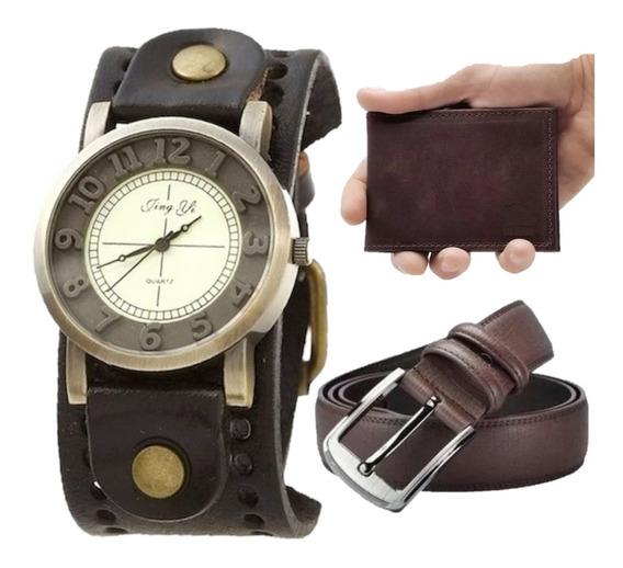 Kit Relógio Masculino Couro Vintage + Carteira Slim + Cinto