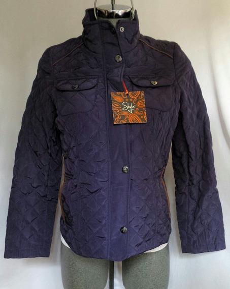 Jacket Acolchada Ligera Aplique Fake Fur Tono Azul Marino