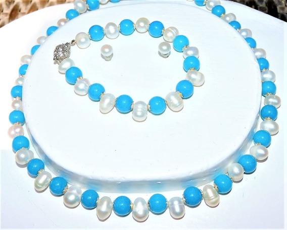 Collar Y Pulsera + Aretes Perla Cultivada Blanco + Jade 118