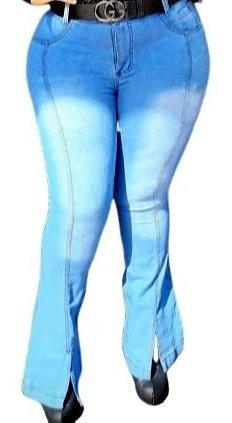 Calça Jeans Empina Bumbum Modeladora Plus Size Flare Fenda
