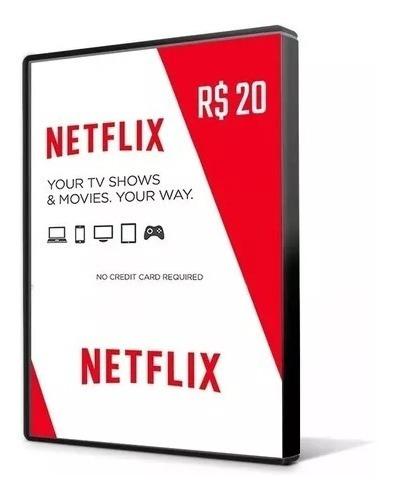 Cartão Pré-pago Presente Netflix Ultra Hd R$20,00
