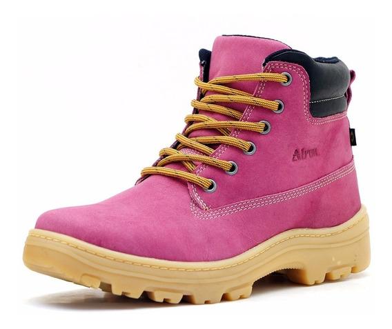 Bota Coturno Feminina Rosa Boot Sola York 100% Couro
