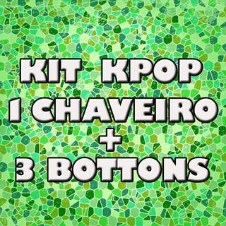 Kit 1 Chaveiro + 3 Bottons Kpop Varios Grupos - Bottom Kpop