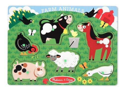 Melissa  Puzzle De Clavijas De Madera Doug Farm Animals 6 Pi