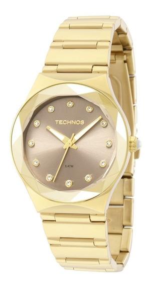 Relógio Technosaço Dourado Visor Grafite Swarovski 2035mfh4c