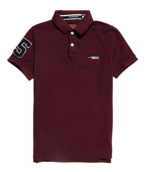 Superdry Classic Pique Polo Shirt Boston Burgundy Marl...