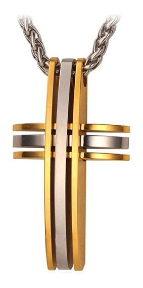 Colar Masculino Corrente + Pingente Cruz Aço + Banho Ouro