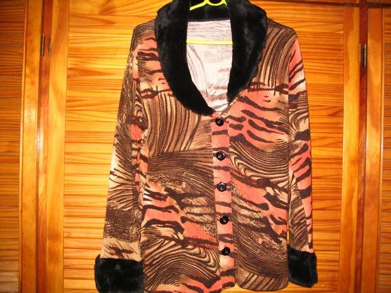 Saco Saquito Sweater Cardigan Lanilla Cuello Piel Sintetica