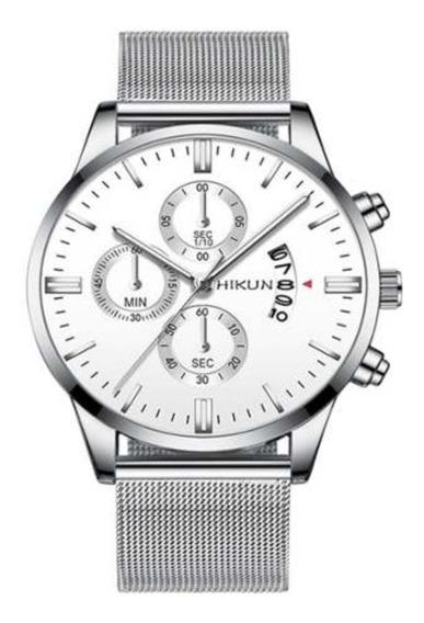Relógio Unissex Pulseira Malha De Aço Inoxidável Cronógrafo