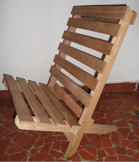 Cadeira De Praia Pescaria Dobrável - Madeira De Demolição