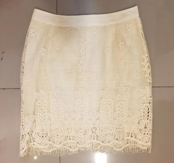 Saia Gripir Le Lis Blanc Marfim Tubinho Midi - Bege - Renda