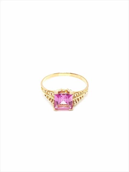 Anillo Oro 18k Piedra Rosa De Francia (a509)