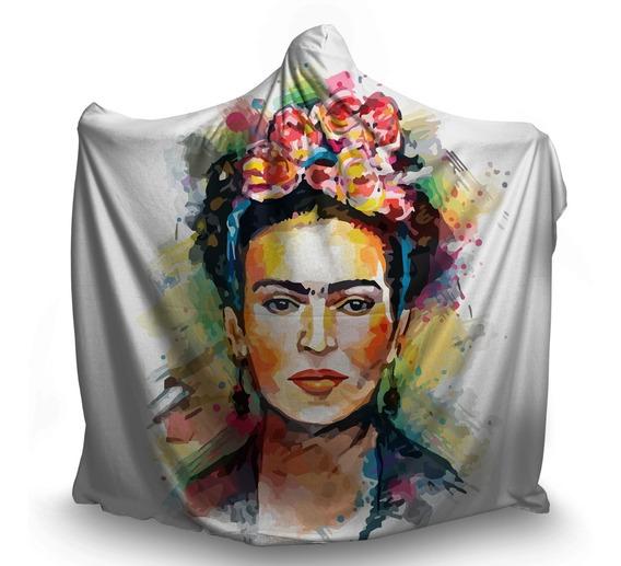 Manta Coberta Com Capuz Frida Kahlo Flores Artista México