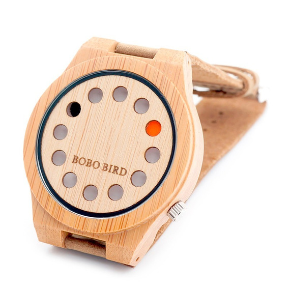 Relógio Masculino Bambu Madeira Bobo Bird A04