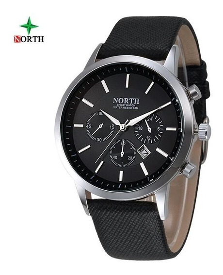 Reloj Hombre Acero North Cuero Deportivo Casual Elegante