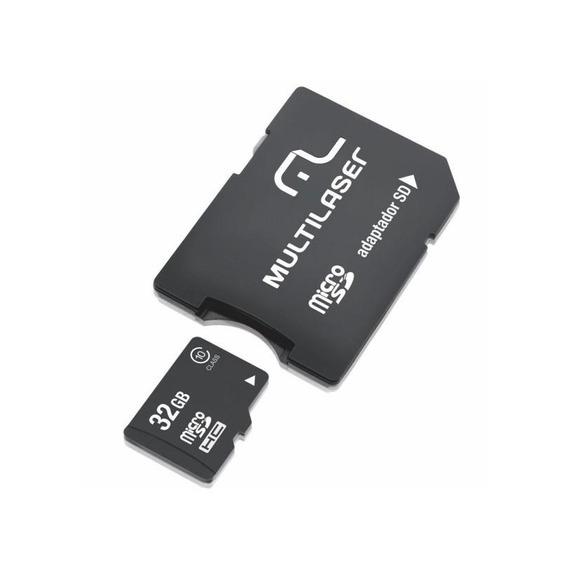 Cartao De Memória Classe 10 32gb + Adaptador Multilaser 2x1