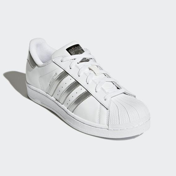 Tênis adidas Superstar Branco Com Prata