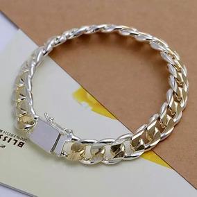 Pulseira Bracelete Prata Banhada Com Detalhes Em Ouro Lindo