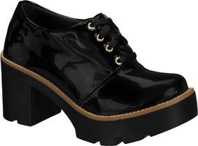Sapato Oxford Cano Curto Salto Grosso Tratorado Verniz Preto