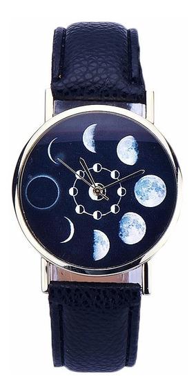 Relogio Lua Eclipse Couro Preto Lindo Luxo