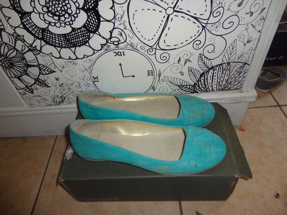Vogue * Zapatos Ballerinas Terciopelo Verde Aqua 39 1 Postur