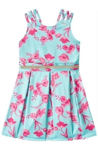 Vestido Infantil Menina Mundi Rosa Com Estampa Flores.