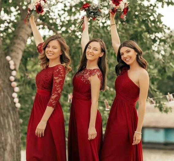 Vestidos Dama De Honor Color Vino Encaje Vestidos En