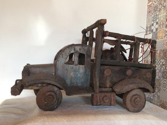 Caminhão Miniatura Madeira Usado Rodas Lata Artesanal 1950