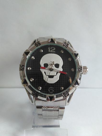 Relógio Masculino Aço Inoxidável Caveira Prateado Promoção