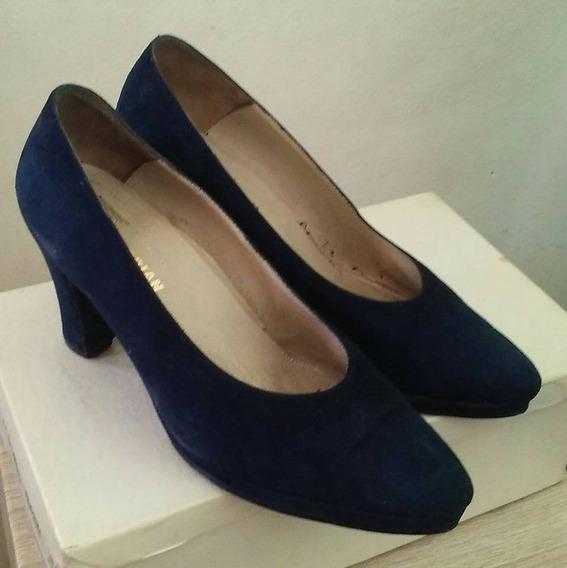 Zapatos Stilettos Gamuza Taco Ancho Ferraro