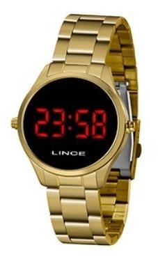 Relógio Lince Led Dourado Mdg4618l Vxkx