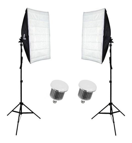 Kit De Iluminação Luz Contínua Duplo 100w Para Foto E Vídeo