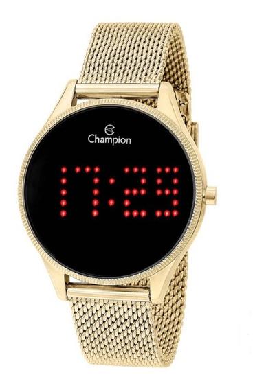 Relógio Champion Feminino Digital Led Ch40026v Dourado