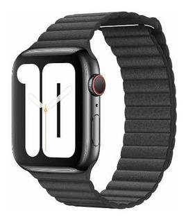 Pulseira Preta De Couro Apple Watch 42 Mm