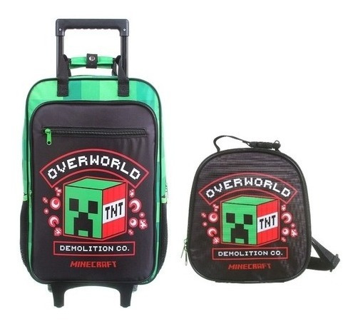 Mochila Escolar Mine Craft Overworld Lancheira Estojo