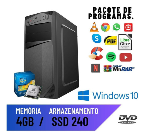 Imagem 1 de 2 de Computador Smart Intel Core I3 4gb Ssd 240 Win10 Original