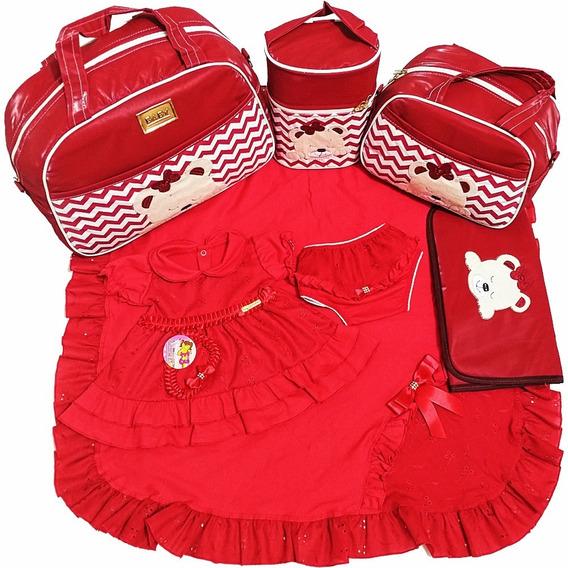Kits Saídas De Maternidade Com Bolsas 4pcs Vermelho Menina