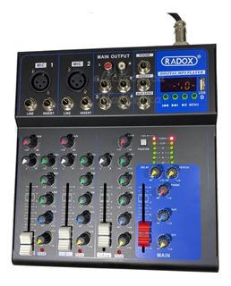 Mezcladora Audio 4 Canales Lector Usb Bluetooth Mixer Nueva