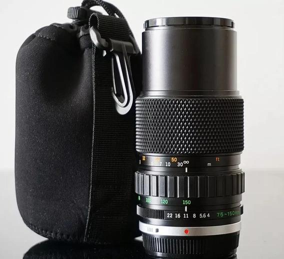 Lente Olympus Om 75-150 F4.0 Constante + Adapt. Canon Eos Ef