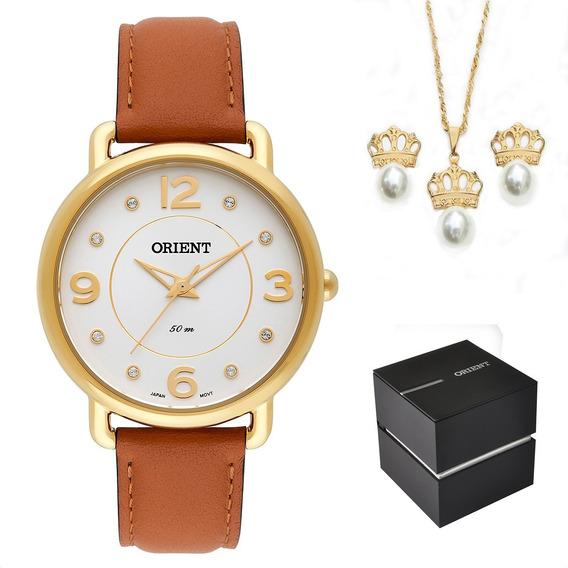 Kit Relógio Orient Feminino Couro Dourado Fgsc0010 S2mx + Nf