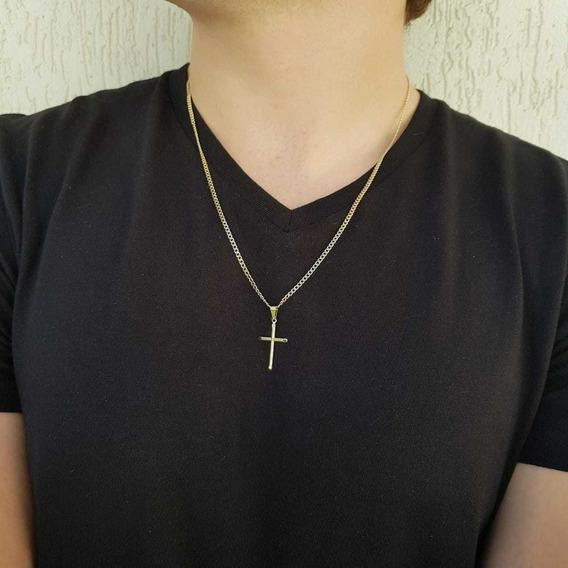 Correntinha Grumet Fininha + Pingente Cruz Crucifixo Banhado