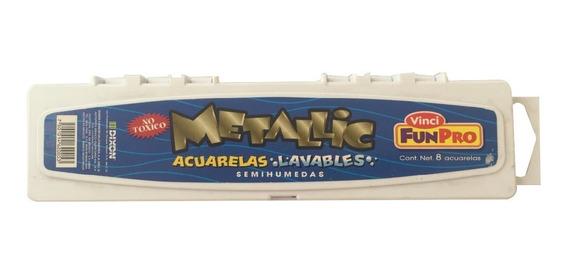 Acuarelas Lavables Metallic Vinci 8 Colores