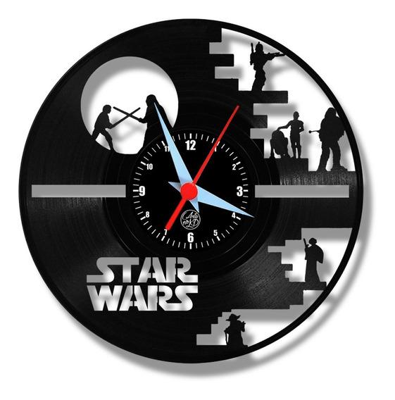Star Wars Relógio Disco Vinil Lp Geek Darth Vader Luke Arte